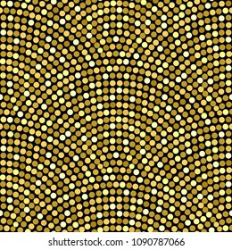 Vector abstract seamless wavy pattern with geometrical fish scale layout. Golden yellow circles on a dark black background. Fan shaped garlands .Wallpaper, textile patch, wrapping paper, page fill