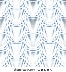 Vector abstract seamless wavy pattern with geometrical fish scale layout. Grey blue stars and snowflakes on a white background. Fan shaped Christmas garlands. New Year snowflake holiday decoration