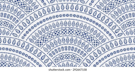Vector abstract seamless wavy pattern from decorative ethnic ornaments with dark blue watercolor paint texture on a light grey background. Regular fan shaped ornamental elements