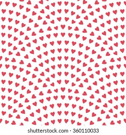 Vector abstract seamless wavy pattern with geometrical fish scale layout. Red pink stylized  hearts on a light white background. Fan shaped Valentine Day ornament. Holiday decoration. Wrapping paper