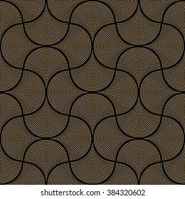 Vector abstract seamless wavy pattern with geometrical order. Gold triangular twinkles on a dark black background. Fan shaped stylized firework light burst. Moroccan holiday decoration.Ethnic, folk