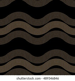 Vector abstract seamless wavy pattern from small balls. Horizontal golden waves, dappled Art deco ornament on black background. Wallpaper, wrapping paper, textile print. Folk, ethnic, tribal tracery