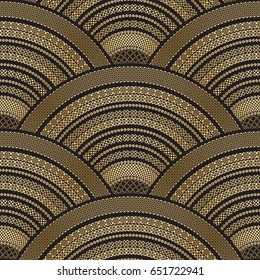 Vector abstract seamless wavy pattern from golden ethnic ornaments on a black background. Geometrical fan, peacock tail shape. Batik scale paint.Oriental textile print. Art deco wallpaper