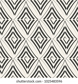 Vector abstract seamless white pattern, painted by brush rhombuses-shaped spiral. Modern stylish texture. White and black