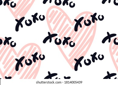 Vector abstract seamless XOXO pattern. White background with pastel beige hearts and black words. Trendy print design for textile, wrapping paper, wedding backdrops, Valentine's Day concepts etc.