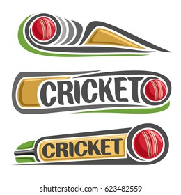 Vector abstract set for Cricket game: red ball hitting of bat, flying on curve trajectory, inscription title text - cricket, 3 isolated clip art illustrations on cricket theme on white background.