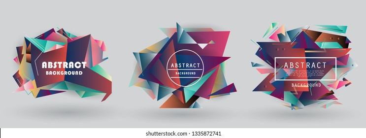 Vector abstract shape, colorful creative frames for advertising text