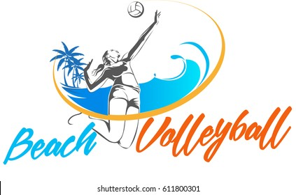 Vector abstract, shape symbol or icon of the beach volleyball event.