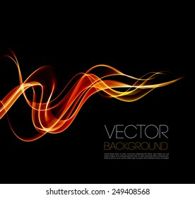 Vector Abstract shine waves  in black background. Template brochure design