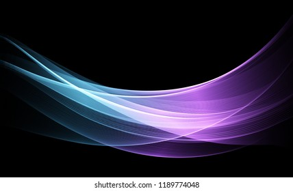Vector Abstract shiny color blue wave design element on dark background. Science or technology design
