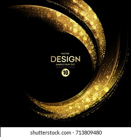 Vector Abstract shiny color gold wave design element with glitter effect on dark background. Twinkle dust