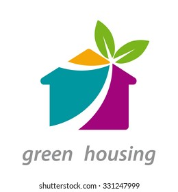 Vector abstract sign green house