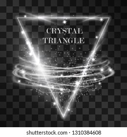 Vector abstract silver white triangle light effect with swirling winds. Glowing decorative effect of luminous geometric shape with storm vortex. Illuminating decorative illustration background.