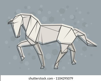 Vector abstract simple illustration drawing outline horse.