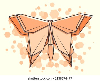 Vector abstract simple illustration drawing outline humming butterfly.