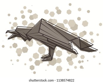 Vector abstract simple illustration drawing outline raven.