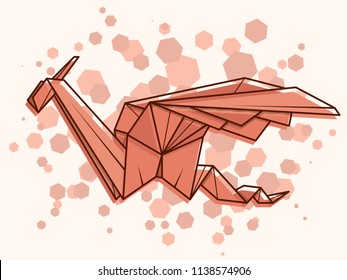 Vector abstract simple illustration drawing outline dragon.