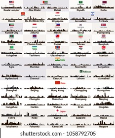 vector abstract skylines silhouettes of asian cities