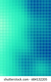 Vector abstract smooth square mosaic blue and aqua green tile background, vertical format.