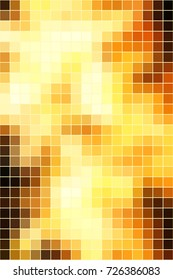 Vector abstract smooth square mosaic yellow and brown tile background, vertical format.