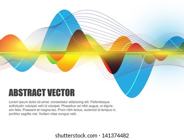 vector abstract sound wave, electromagnetic background