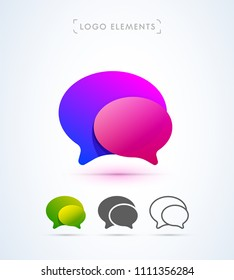 Vector abstract speech bubbles logo template. Material design, origami, flat and line style