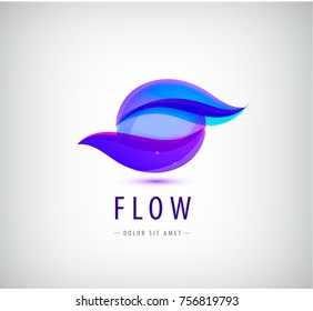 Vector abstract sphere, flow, waves logo, company icon