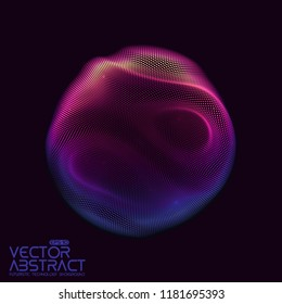 Vector abstract sphere of particles, points array. Futuristic vector illustration. Technology digital splash or explosion of data points. Spherical waveform. Cyber UI or HUD element