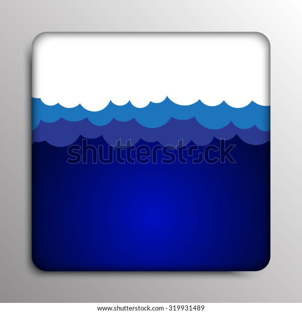 Vector abstract square frame. Clouds on a dark blue background.