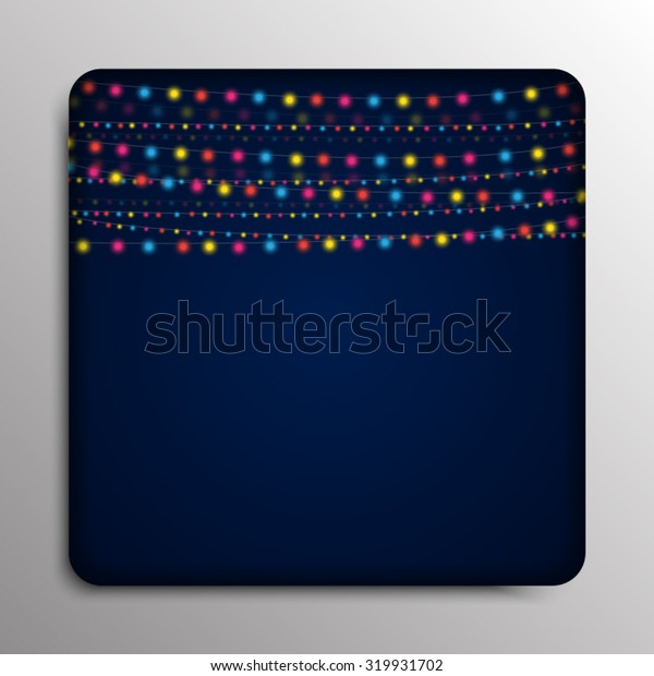Vector abstract square frame. Garland on a dark blue background.