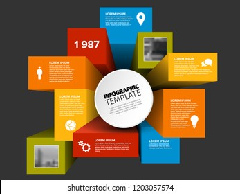 Vector abstract squares and cubes infographic template with place for your content and photos