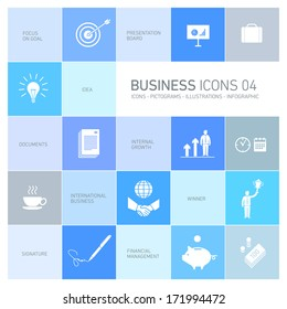 Vector abstract squares icons and pictograms of business people and situations