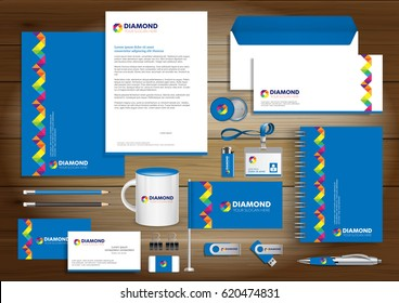 Vector abstract stationery Editable corporate identity template design with origami elements. community group network, link concept Document for business, gift items, logo, blue, Yellow, red, Green