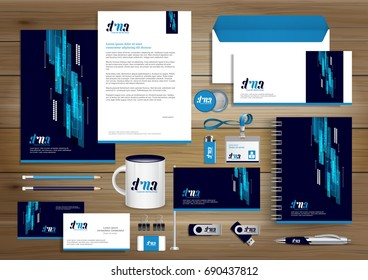 Vector abstract stationery Editable corporate identity template design, Gift Items business Color promotional souvenirs elements. link digital technology Stationery set, blue