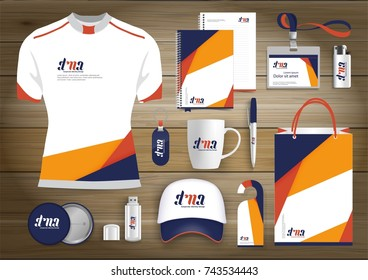 Vector abstract stationery Editable corporate identity template design, Gift Items business Color promotional souvenirs elements. link digital technology Stationery set,
