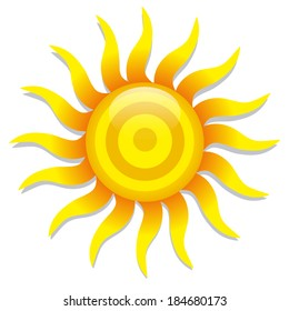 Vector Abstract Stylish Sun Icon Isolated On White Background
