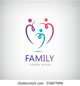 vector abstract stylized family of 3, team lead icon, logo, sign isolated. Corporate identity