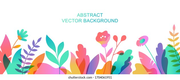 Vector abstract summer background with copy space for text. Horizontal template for websites, event invitations, greeting cards, advertising banners. Flower designs in flat style.