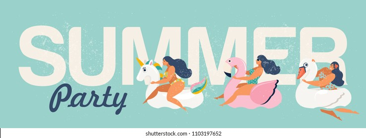 Vector abstract summer time illustration card with pin up girl swimming on animal float circle in ocean waves with calligraphy. Summer party.