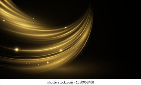 Vector abstract swirling wave. Golden neon liquid. Elegant bright linear wave. Vector background