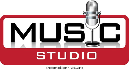 Vector abstract , symbol or logo for a music studio