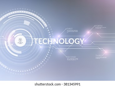 Vector abstract technology background with communication concept - rounds, circles and hexagons - website banner.