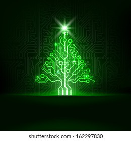 Vector abstract technology Christmas tree.