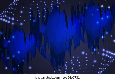 Vector abstract technology cyberpunk blue background template, abstractions on the wavy shining swirls, colorful graphic backdrop.