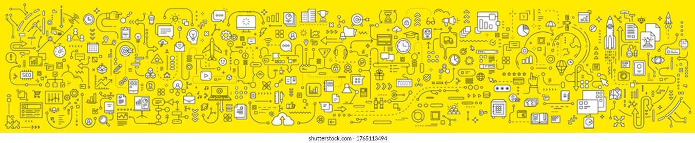 Vector abstract technology illustration of connected business icon on yellow background. Line art style innovation design of graphic element for web, site, poster, banner