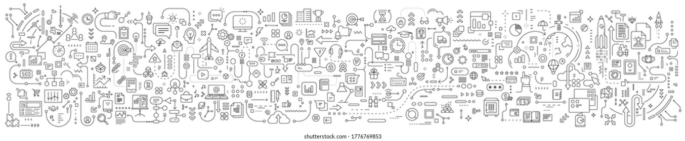 Vector abstract technology illustration of connected business icon on white background. Line art style innovation design of graphic element for web, site, poster, banner