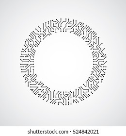 Vector abstract technology illustration with round monochrome circuit board. High tech circular digital scheme of electronic device.