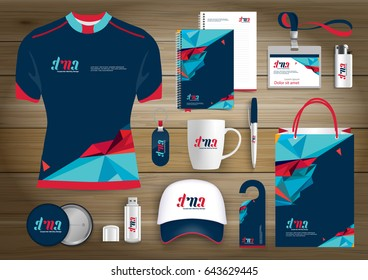 Vector abstract technology sport design with origami elements Gift Items, Color promotional souvenirs design for link corporate identity with technology lines. Stationery set, digital tech template.