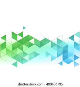 Vector Abstract template background with blue and green triangle. For brochure, cover, flyer design.