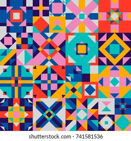 Vector abstract texture with different geometrical elements. Seamless quilt pattern. Beautiful graphic background.
